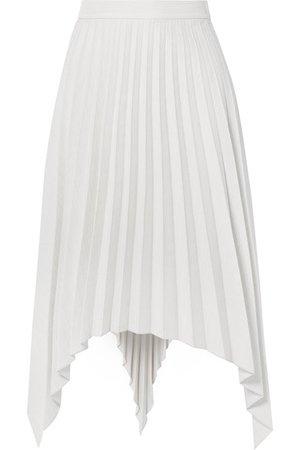 Acne Studios | Ilsie asymmetric pleated wool-blend midi skirt | NET-A-PORTER.COM