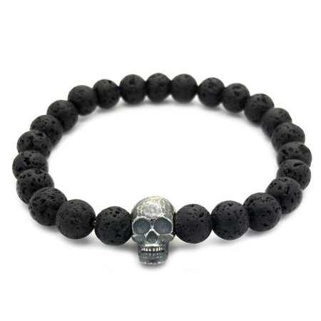 Sterling Silver Raw Skull with Lava Stones