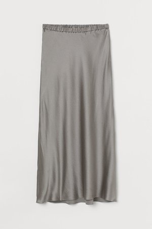Calf-length Silk Skirt - Gray