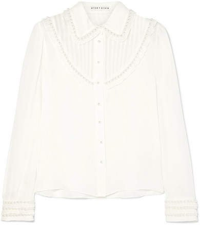 Alice Olivia - Noreen Embellished Ruffled Silk-chiffon Blouse - White