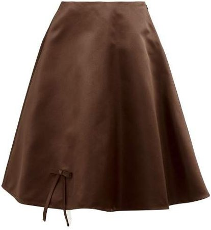 Bow Applique Double Silk Satin Midi Skirt - Womens - Dark Brown