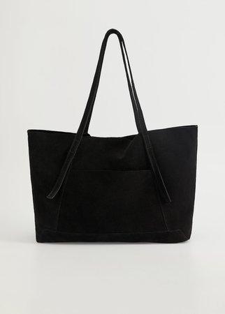 Leather shopper bag - Women   Mango USA