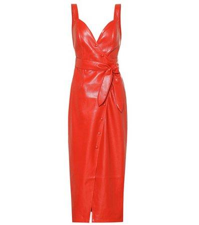 Nahar faux leather wrap dress