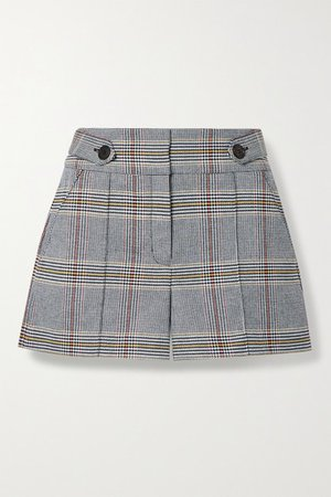 Betty Checked Cotton-blend Shorts - Blue