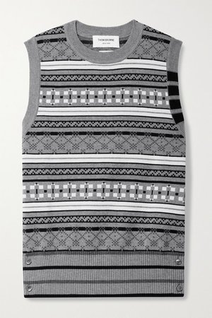 Cotton-jacquard Tank - Gray