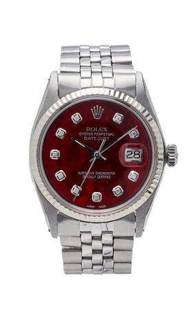 Vintage Watches Rolex Datejust 36mm Red Pearlized Diamond Dial