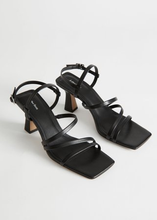 Strappy Leather Sandalettes - Black - Heeled sandals - & Other Stories