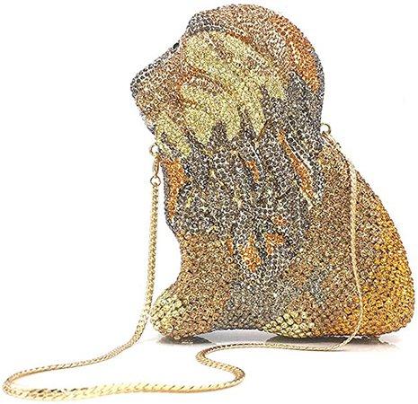 Lady Dazzle Full Diamond Clutch Lion Evening Bag Gold Bling Rhinestone Chain Cross Body Bag Animal Purse: Handbags: Amazon.com