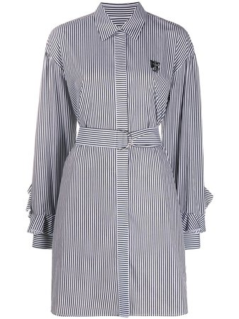 MSGM Belted Stripe Shirt Dress - Farfetch