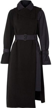 Wool And Cotton-gabardine Trench Coat - Black