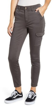 High Waist Cargo Ankle Skinny Jeans