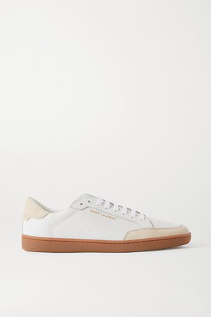Court Classic Perforated Leather And Suede Sneakers - White