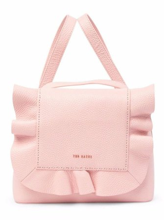 Ted Baker Rammira Ruffled Convertible Rugsack Pink Leather Backpack