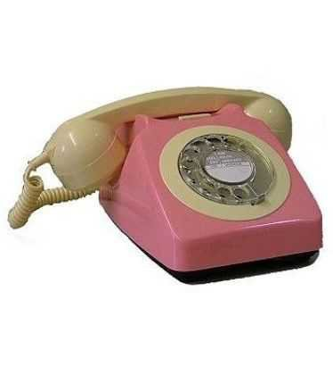pink and white dial phone