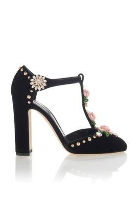 DOLCE & GABBANA Black Velvet T-Strap floral, crystal & stud Embellish Pump 8/39 | eBay