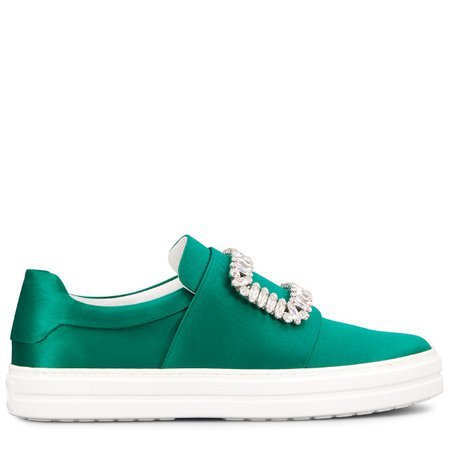 Sneakers Souliers Sneaky Viv' Strass Buckle en Satin de Soie RVW40315851RS0V016 | Store Roger Vivier
