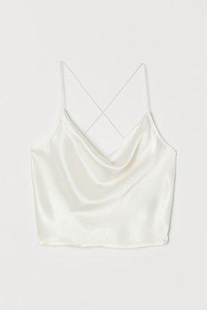 Draped Satin Top - Cream - Ladies | H&M US