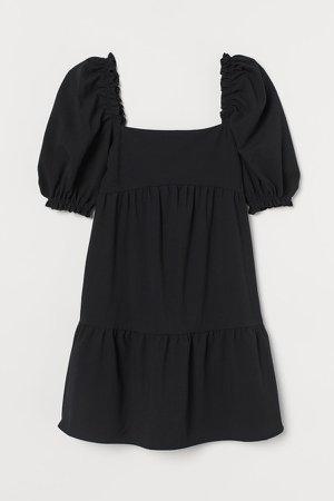 Seersucker Dress - Black