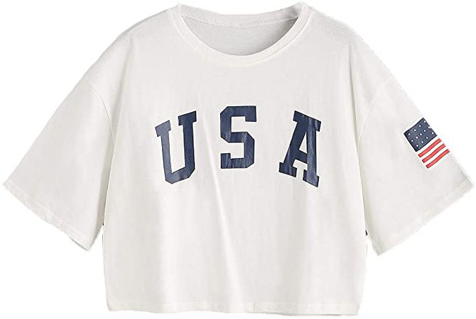 SweatyRocks Women's Letter Print Crop Tops Summer Short Sleeve T-shirt M White) at Amazon Women's Clothing store
