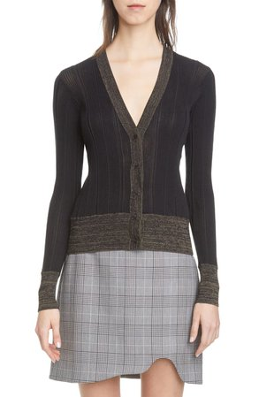 Ganni Rib Cotton Blend Cardigan | Nordstrom