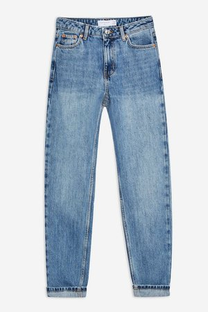 Mid Blue Wash Mom Tapered Jeans | Topshop