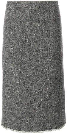 Striped High-waisted Wool Pencil Skirt