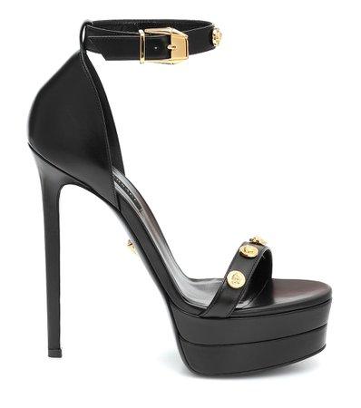 Versace Embellished Leather Plateau Sandals