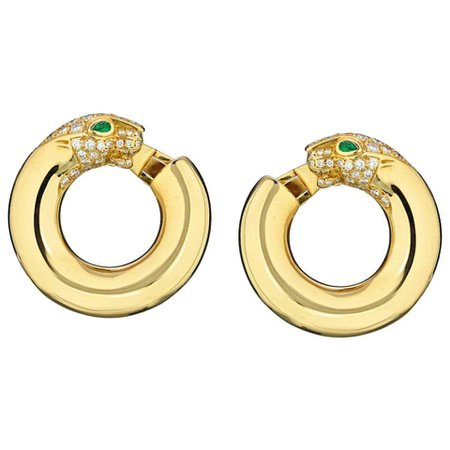 Cartier Yellow Gold Panthere Emerald Eyes Diamond Round Pierced Hoop Earrings For Sale at 1stDibs