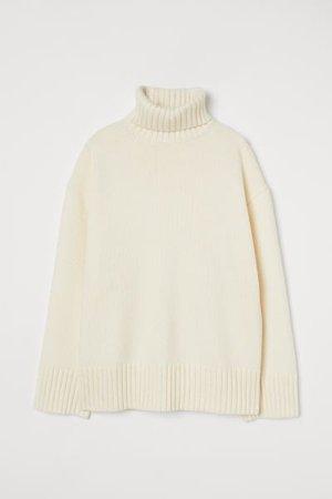 Polo-neck jumper - Cream - Ladies   H&M GB