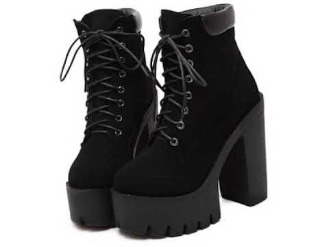 Black Platform Heel Boots