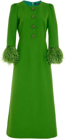 Andrew Gn Feather-Trimmed Crepe Midi Dress