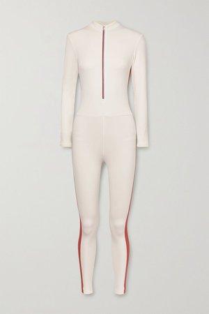 Cream Selene Thermal striped stretch bodysuit | Vaara | NET-A-PORTER