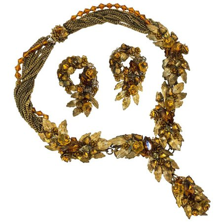 40s Robert deMario Amber and Gold Tone Necklace and Earrings Set For Sale at 1stdibs