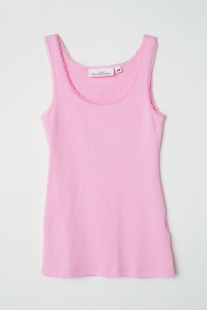 Lace-trimmed Tank Top - Light pink - Ladies   H&M US
