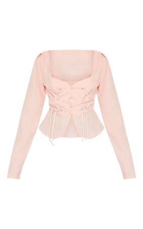 Petite Dusty Pink Corset Blouse   Petite   PrettyLittleThing USA