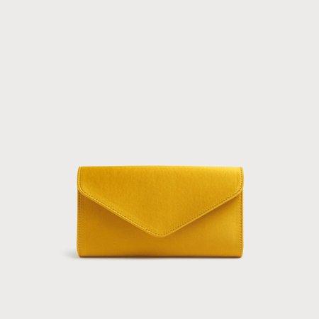 Lucia Yellow Satin Clutch   Handbags   L.K.Bennett