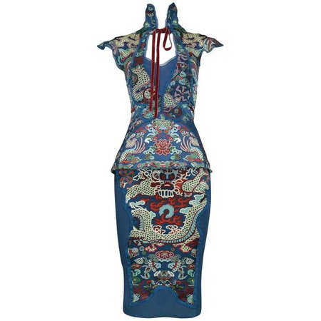 Tom Ford for Yves Saint Laurent Vintage Teal Chinese Dragon Ensemble, 2004 For Sale at 1stdibs