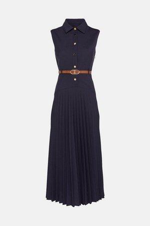 Polished Wool Blend Sleeveless Pleated Dress | Karen Millen