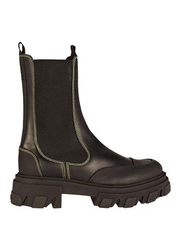GANNI Leather Lug Sole Combat Boots | INTERMIX®