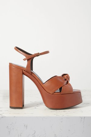 Tan Bianca knotted leather platform sandals | SAINT LAURENT | NET-A-PORTER