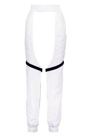 Buckle Strap Detail Cut Out Chap Pants | Boohoo