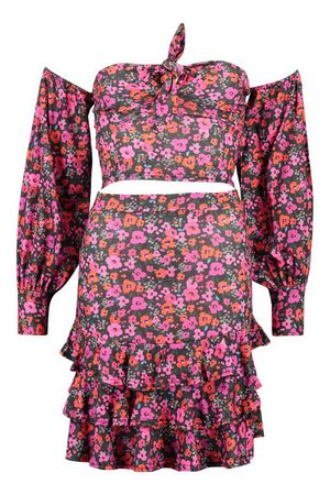 Floral Tie Front Top & Ruffle Hem Skirt Co-Ord | boohoo