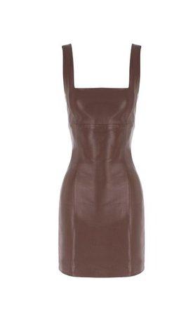Square-Neck Leather Mini Dress By Zeynep Arçay | Moda Operandi