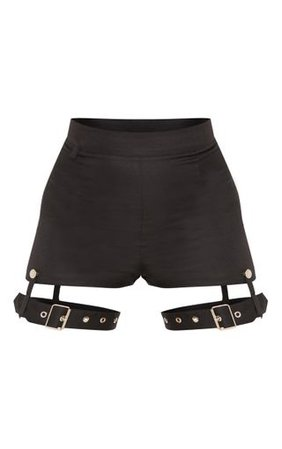 Black Harness Detail Short | Shorts | PrettyLittleThing USA