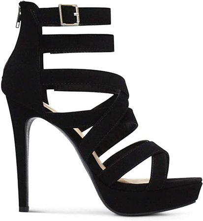 Amazon.com | MARCOREPUBLIC Indianapolis Women's Open Toe High Platform High Heeled Shoes Stiletto Dress Sandals - (Black NBPU)- 11 | Heeled Sandals