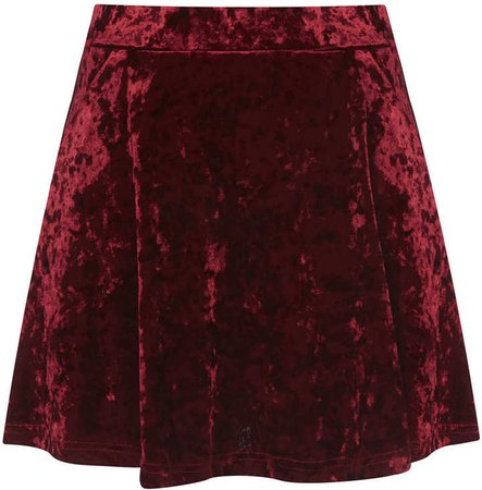 Topshop Petite Red Crush Velvet Skirt