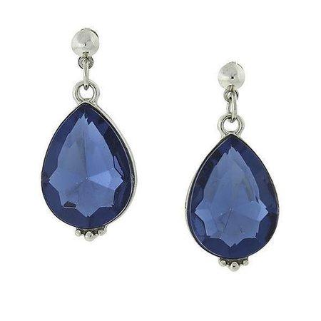 Silver-Tone Blue Teardrop Earrings