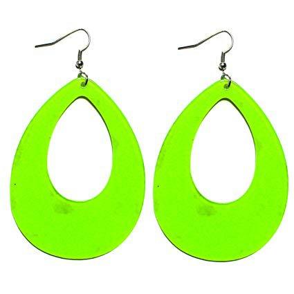 Amazon.com: 1980s Fashion Retro Neon Nation Circular Oval Earrings for Women (Pink Raindrop): Sports & Outdoors