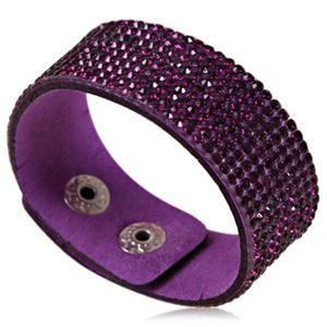 Purple Scintillante - Crystal Leather Wrap Bracelet