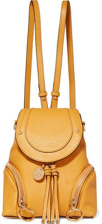 Olga Small Textured-leather Backpack - Mustard